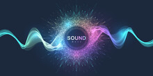 Sound Poster Design With Abstract Gradient Line Waves. Music Wave Abstract Background, Vector Illustration.