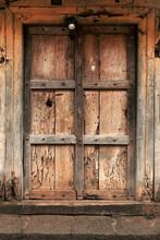 11 July 2021, Mharde, Satara, India, Old Vintage Wooden Door On Retro Wall