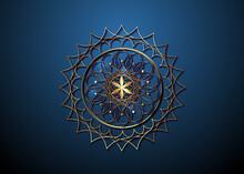 Gold Seed Of Life Symbol Sacred Geometry. Logo Icon  Geometric Mystic Mandala Of Alchemy Esoteric Flower Of Life. Vector Golden Luxury Divine Meditative Amulet Isolated On Blue Background