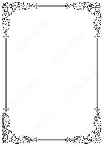 Obraz na plátně Calligraphic floral frame and page decoration