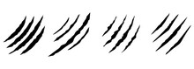 Animal Claws Scratches Icons Set. Isolated Over White Background. Collection Of Scratched Claws. Vector Illustration
