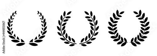 Obraz na plátně Set black silhouette circular laurel