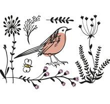 Vector Color Image Of A Birdand Plants, Bird Icon Design. Cute Birds And Plants Cartoon. Placard Decor. Art Print. Folk Art Bird Decoration, Retro. Wallpaper.