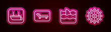 Set Line Lifeboat, Sunbed And Umbrella, Shark Fin In Ocean Wave And Ship Steering Wheel. Glowing Neon Icon. Vector