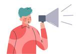 Man with Loudspeaker Spreading Fake News and Misinformation Cartoon Vector Illustration