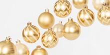 Christmas Or New Year Holidays Banner Background With Golden Baubles Or Ornaments, 3d Render
