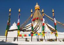 Boudha Bodhnath Boudhanath Stupa Prayer Flags Kathmandu