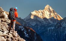 Mount Nanda Devi Tourist Hiker India Himalaya Mountain