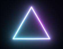 Shiny Neon Triangle Frame, Light Geometric Shapes. 3d Render