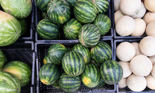 Watermelons And Cantaloupe On Display In Farmer's Market For Sale.