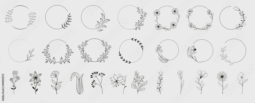 Obraz Decorative round floral frames made of blooming flowers hand drawn with contour lines on white background. Vintage laurel wreaths collection. Set of circular natural design element.Vector illustration fototapeta, plakat
