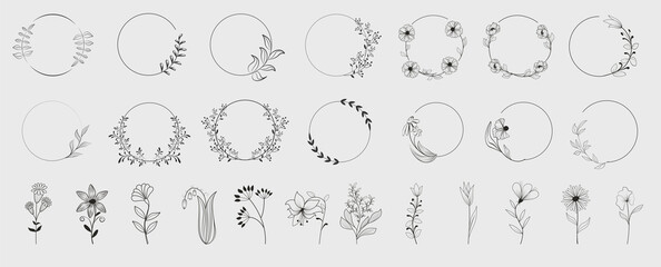 Fototapeta na wymiar Decorative round floral frames made of blooming flowers hand drawn with contour lines on white background. Vintage laurel wreaths collection. Set of circular natural design element.Vector illustration