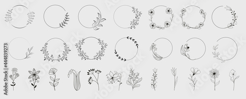Photographie Decorative round floral frames made of blooming flowers hand drawn with contour lines on white background