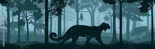 Canvas vector forest woodland background texture seamless pattern with Puma, Cougar, mo