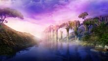 Fantastic Landscape With Ancient Aqueduct And River, 3D Render.
