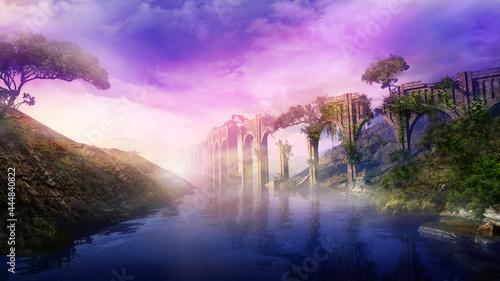 Foto Fantastic landscape with ancient aqueduct and river, 3D render.