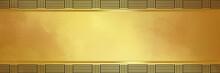 Gold Background With Black Trim Border Pattern, Elegant Modern Design In Shiny Metallic Yellow With Design Elements