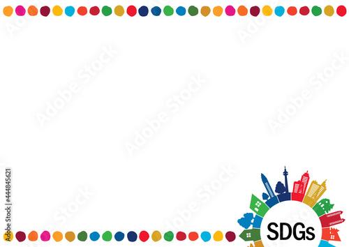 Foto SDGs-持続可能な開発目標の街並みシルエットドットイメージフレーム
