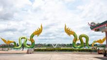 Twin Green Naga Statue At The Mekong River, Wat Lamduan Temple, Nong Khai Province Thailand. Most Famous Landmark.