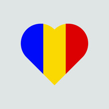 The Flag Of Romania In A Heart Shape. Romanian Flag Vector Icon Isolated On White Background.