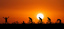 Cyclist Silhouette Riding A Bike In Many Poses