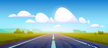 Car Road In Fields With Green Grass And Forest On Horizon. Vector Cartoon Illustration Of Summer Countryside Landscape With Meadows, Clouds In Blue Sky And Highway With Tire Tracks On Asphalt