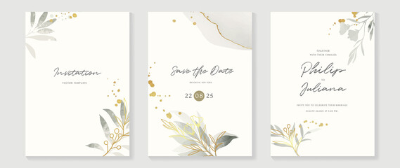 Fototapeta na wymiar Abstract art background vector. Luxury invitation card background with golden line art flower and botanical leaves, Organic shapes, Watercolor. Vector invite design for wedding and vip cover template.