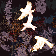 Vector Drawing Natural Background With Flowers And Flying Birds, Hand Drawn Illustration For Cover Design Or Print