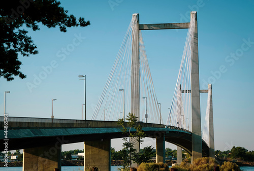 Cable-stayed bridge over Columbia River in Washington State #444865461
