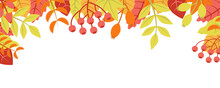 Autumn Nature Background With Leafage Pattern Concept. Horizontal Web Banner With Orange, Red And Yellow Leaves And Berries Elements. Cute Plants Border. Vector Illustration In Flat Design For Website