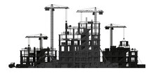 Construction Site Banner Silhouette Isolated.