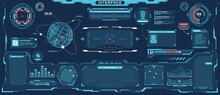 Futuristic Hud Interface. Sci-fi Virtual Communication Display Layout. Digital Hologram Screen, Spaceship Control Panel Vector Template. Bars, Titles, Dashboard And Window With Information