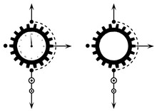 Vector Set Illustrations With Gears And Clock  In Black And White Colors