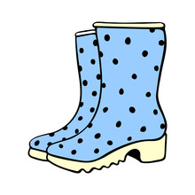 Vector Outline Polka Dot Rubber Blue Rain Boots For Rainy Weather Or Gardening. Hand Drawn Element Of Clothes, Clip Art In Doodle Style, Isolated