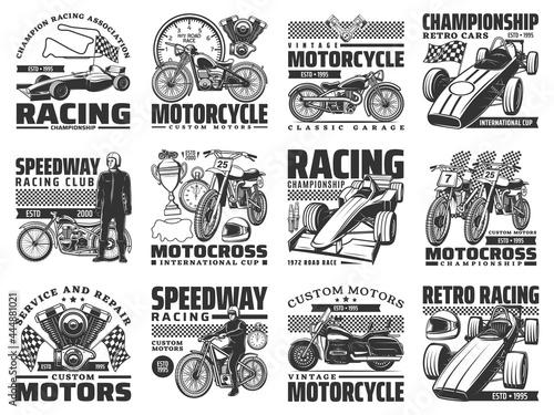 Fototapeta Motor sport racing, vintage motobike service icons set