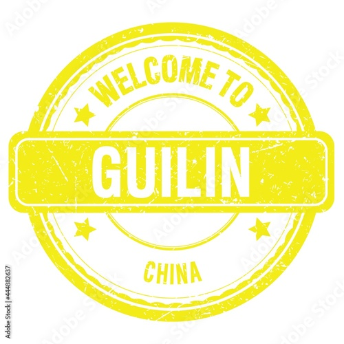 Fototapeta WELCOME TO GUILIN - CHINA, words written on yellow stamp
