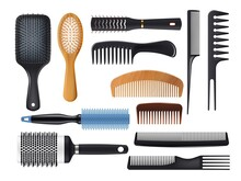 Hairbrushes And Combs Realistic Vector Set. Isolated Hair Brushes, Barber And Hairdresser Tools. Plastic, Metal And Wooden Hair Care Or Hairstyle Salon Accessories, 3d Paddle And Round Hairbrushes