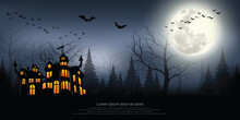Castle, Haunted House And Ghost Hands, Tomb On Full Moon Night. Illustrator Vector Eps 10.