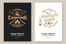 Happy Camper. Happiness Is Toasted Marshmallows. Vector Flyer, Brochure, Banner, Poster Design With Camping Tent, Campfire, Marshmallow On A Stick Silhouette. Concept For Shirt Or Print, Stamp Or Tee