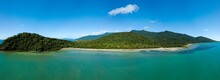 Aerial Image Of Cape Tribulation A Remote Headland In Tropical Far Northeast Queensland, Australia. A Coastal Area Within Daintree National Park.