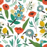 Seamless floral pattern with spring blossomed flowers on white background. Endless repeatable texture with romantic blooming summer plants. Modern botanical print. Colored flat vector illustration