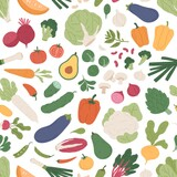 Seamless pattern with fresh vegetables on white background. Repeatable texture with different vegetarian food. Printable farm organic veggies for wrapping. Colored flat vector illustration