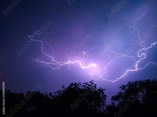 lightning in the night sky, amazing thunderbolts in dark night Fototapeta