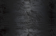Luxury Black Metal Gradient Background With Distressed Tire Tracks On The Ground Texture.