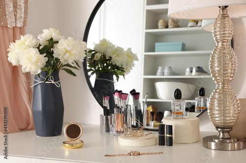 Murais de parede Stylish dressing table in modern wardrobe room