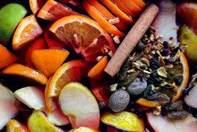 Mulled Wine. Background Of Orange Fruits And Spices For Mulled Wine.