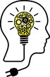 Human head, yellow lightbulb, gears illustration. Continous draw of human head to use in idea, strategy, brainstorming, success and creative thinking projects and presentations.