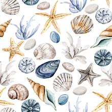 Seamless Pattern With Watercolor Shells, Repeat Sea Texture, Background Hand Drawing. Perfectly For Wrapping Paper, Wallpaper, Fabric, Texture And Other Printing.