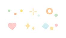 水彩風の飾りのイラストのセット 装飾 かわいい ハート キラキラ 輝き 丸 四角