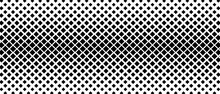 Halftone Abstract Background. Monochrome Texture Made Of Geometric Shapes.  Linear Pattern In Mosaic Of Squares. Design Banner, A Poster Website, A Frame For Social Networks. Vector Illustration.
